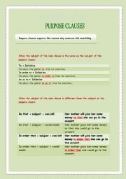 English Worksheet: Purpose clauses