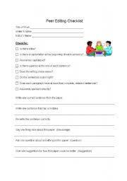 English worksheet: Peer Editing Checklist