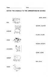 english worksheets animal sounds. Black Bedroom Furniture Sets. Home Design Ideas