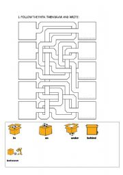 English Worksheets: IN, ON, UNDER, BEHIND, BETWEEN
