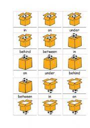 English Worksheet: IN ON UNDER, BEHIND, BETWEEN
