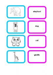 English Worksheets: Animal cards (set 1/4)