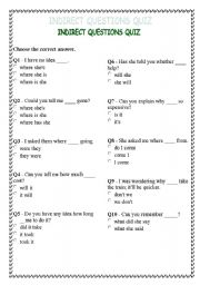 English Worksheet: INDIRECT QUESTIONS QUIZ