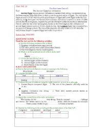 English Worksheet: Ancient Egypt : Evaluation Paper (Algeria)