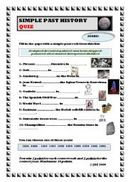 SIMPLE PAST HISTORY QUIZ (with answers) - ESL worksheet by ...