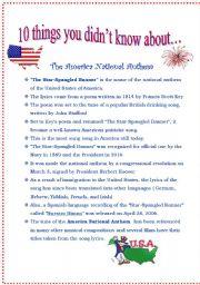 photo relating to National Anthem Lyrics Printable identify The Star-Spangled Banner - ESL worksheet by way of sldiaz