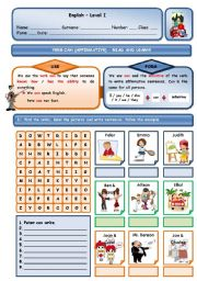 English Worksheet: VERB CAN (ABILITY) - AFFIRMATIVE