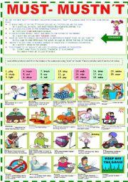 English Worksheet: MUST-MUSTN´T