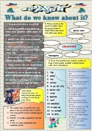English Worksheet: GRAFFITY- activity set:reading , vocabulary practice and speaking (role play) 4 pages + keys