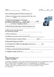 Worksheet Racism Worksheets martin luther kingjr a test