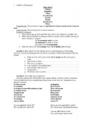 English Worksheet: Adverbs of frequency and degree