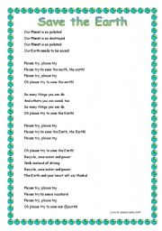 English Worksheet: Save the Earth song
