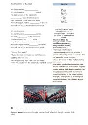 English Worksheet: Another Brick in The Wall by Pink Floyd