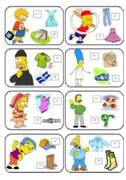 English Worksheet: SIMPSONS MEMORY CARDS CLOTHES PART 1