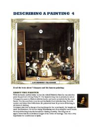 English Worksheet: DESCRIBING A PAINTING 4 (VELAZQUEZ): Reading comprehension, vocabulary and writing activities.2 PAGES
