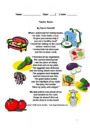 English Worksheet: Twenty Bucks poem