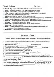 English Worksheets: What is a tornado (part 2)