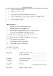 English Worksheets: Jigsaw activity about chocolate