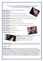 English Worksheet: Obama�s Inauguration and Speech Youtube link