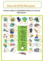 English Worksheet: Shops and Departments