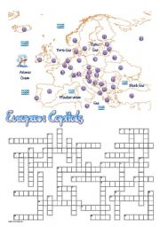 English Worksheet: European Capitals Crossword