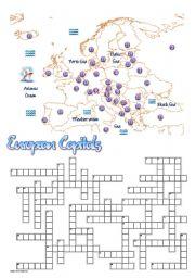 English Worksheets: European Capitals Crossword
