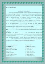 English worksheet: A Linguistic Phenomenon