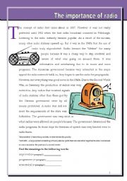 English Worksheets: The importance of radio