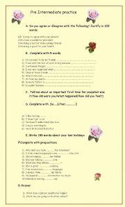 English Worksheet: Pre intermediate practice