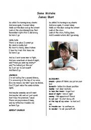 English Worksheet: Song Activity - James Blunt - Same Mistake