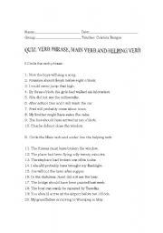 English worksheets: Quiz: verb phrase, helping verb and main verb