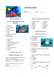English Worksheets: Finding Nemo - Video Activity