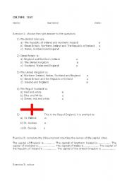 English worksheet: Culture test on the United Kingdom and the Union Jack