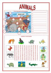 English Worksheets: Animals worksheet (2 pages)