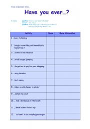 English Worksheets: Find s.o. who... Have you ever...?