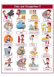 English Worksheet: JOBS AND OCCUPATIONS PICTIONARY 1