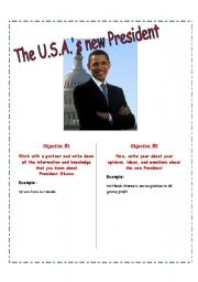 English Worksheets: PAIRWORK:  What do you know about the U.S.A.�s new President?