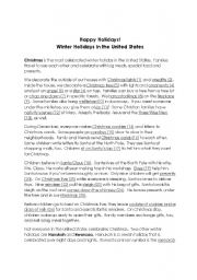 English Worksheet: Winter Holidays in the U.S.