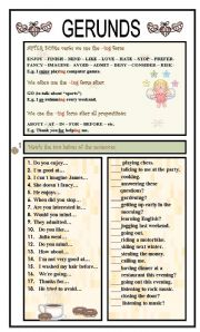English Worksheet: GERUNDS