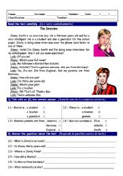 English Worksheets: Reading worksheet with comprehension exercises