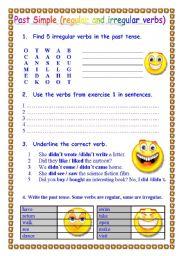 ESL kids worksheets: Past Simple (regular and irregular verbs)