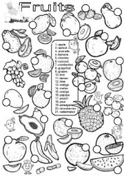English Worksheet: Fruits