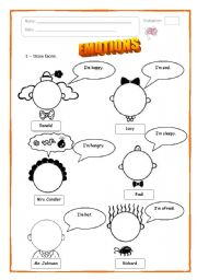 Worksheet Emotions Worksheets english teaching worksheets emotions emotions