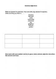 English Worksheet: Extreme adjectives game