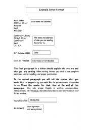 english worksheet letter writing template