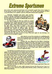 English Worksheets: Extreme Sportsmen Reading Comprehension