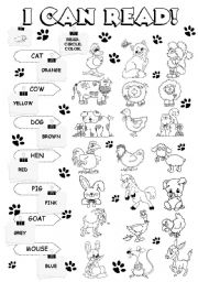 English Worksheets: I can read - farm animals (1/5)