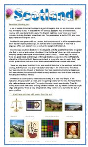 English Worksheet: SCOTLAND - A special way of life