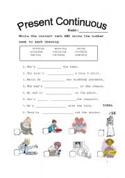 Choose and Match - Present Continuous - ESL worksheet by littlemelli