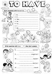 English Worksheet: To have (2)